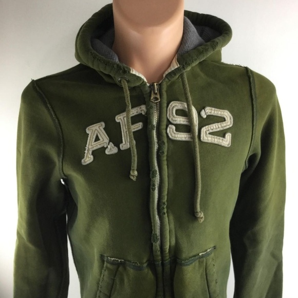 801c65da Abercrombie & Fitch Other - ABERCROMBIE & FITCH Green Hooded Zip up Jacket